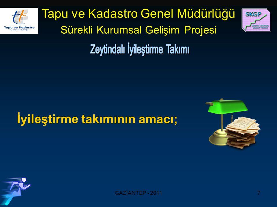 GAZİANTEP - 20117 Tapu ve Kadastro Genel Müdürlüğü Sürekli Kurumsal Gelişim Projesi İyileştirme takımının amacı;