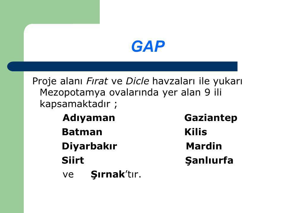 GAP Proje alanı Fırat ve Dicle havzaları ile yukarı Mezopotamya ovalarında yer alan 9 ili kapsamaktadır ; Adıyaman Gaziantep Batman Kilis Diyarbakır Mardin Siirt Şanlıurfa ve Şırnak'tır.