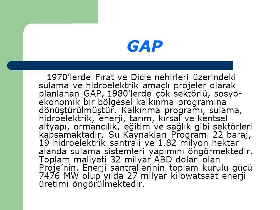 GAP 1970'lerde Fırat ve Dicle nehirleri üzerindeki sulama ve hidroelektrik amaçlı projeler olarak planlanan GAP, 1980'lerde çok sektörlü, sosyo- ekonomik bir bölgesel kalkınma programına dönüştürülmüştür.