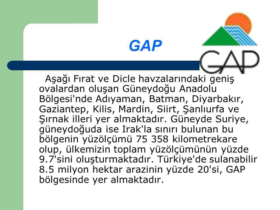 GAP Aşağı Fırat ve Dicle havzalarındaki geniş ovalardan oluşan Güneydoğu Anadolu Bölgesi nde Adıyaman, Batman, Diyarbakır, Gaziantep, Kilis, Mardin, Siirt, Şanlıurfa ve Şırnak illeri yer almaktadır.