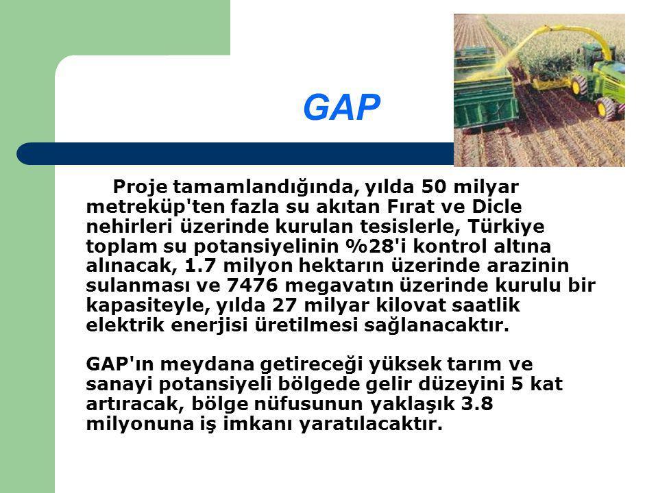 GAP Proje tamamlandığında, yılda 50 milyar metreküp ten fazla su akıtan Fırat ve Dicle nehirleri üzerinde kurulan tesislerle, Türkiye toplam su potansiyelinin %28 i kontrol altına alınacak, 1.7 milyon hektarın üzerinde arazinin sulanması ve 7476 megavatın üzerinde kurulu bir kapasiteyle, yılda 27 milyar kilovat saatlik elektrik enerjisi üretilmesi sağlanacaktır.