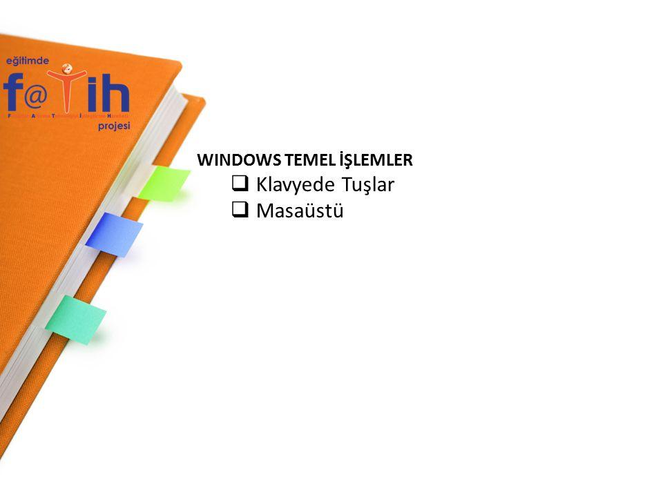 WINDOWS 7 TEMEL İŞLEMLER Pencerelerin en üstünde başlık çubuğu yer alır.