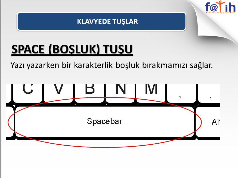 SPACE (BOŞLUK) TUŞU Yazı yazarken bir karakterlik boşluk bırakmamızı sağlar.