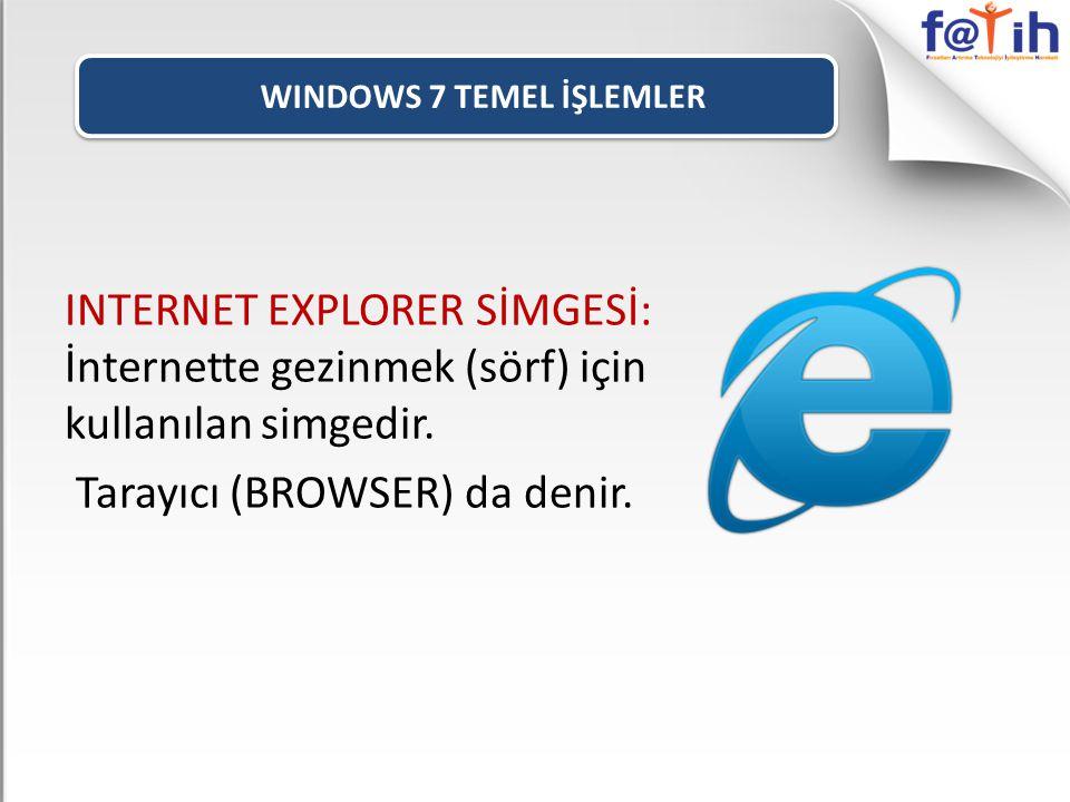 WINDOWS 7 TEMEL İŞLEMLER INTERNET EXPLORER SİMGESİ: İnternette gezinmek (sörf) için kullanılan simgedir. Tarayıcı (BROWSER) da denir.