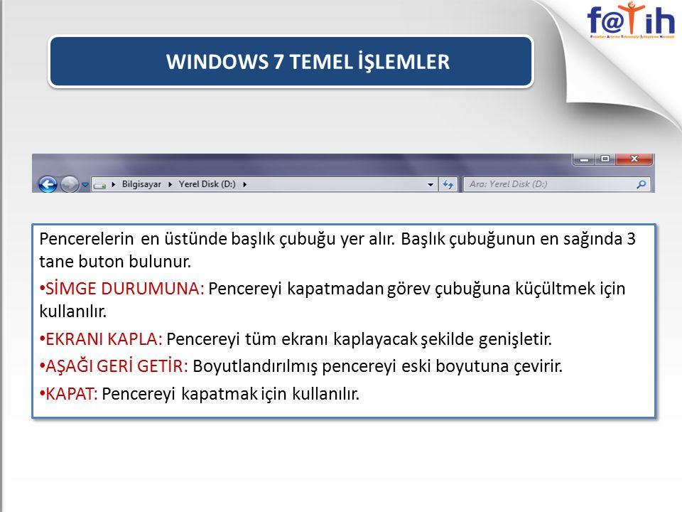 WINDOWS 7 TEMEL İŞLEMLER Pencerelerin en üstünde başlık çubuğu yer alır. Başlık çubuğunun en sağında 3 tane buton bulunur. SİMGE DURUMUNA: Pencereyi k