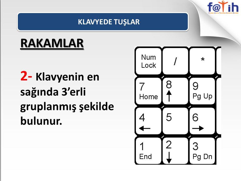 RAKAMLAR 2- Klavyenin en sağında 3'erli gruplanmış şekilde bulunur.