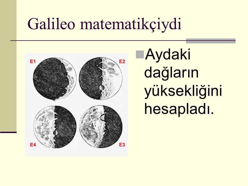 Galileo matematikçiydi Aydaki dağların yüksekliğini hesapladı.