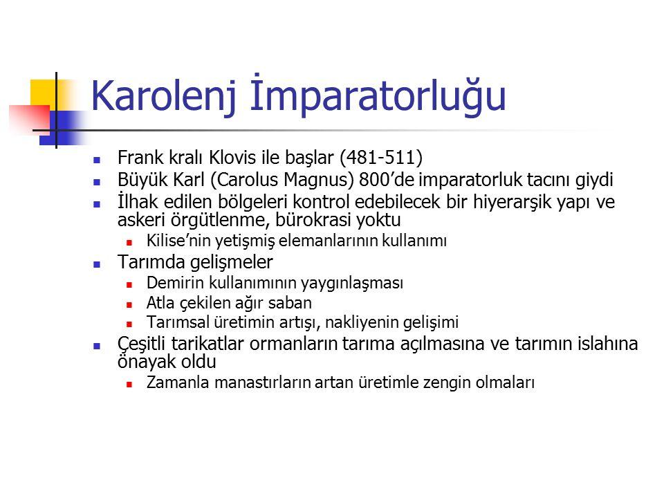 Karolenj İmparatorluğu Frank kralı Klovis ile başlar (481-511) Büyük Karl (Carolus Magnus) 800'de imparatorluk tacını giydi İlhak edilen bölgeleri kon