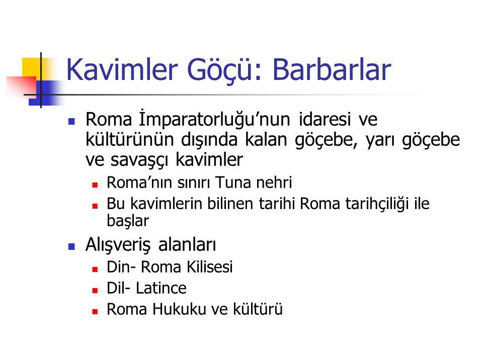 Kavimler Göçü: Barbarlar Roma İmparatorluğu'nun idaresi ve kültürünün dışında kalan göçebe, yarı göçebe ve savaşçı kavimler Roma'nın sınırı Tuna nehri