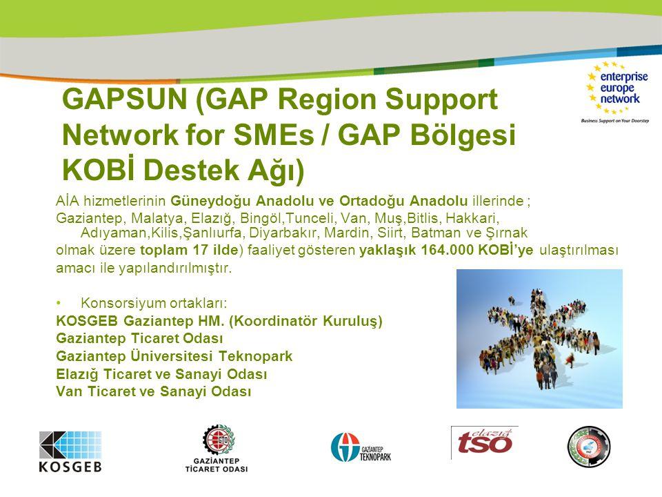 GAPSUN (GAP Region Support Network for SMEs / GAP Bölgesi KOBİ Destek Ağı) AİA hizmetlerinin Güneydoğu Anadolu ve Ortadoğu Anadolu illerinde ; Gaziantep, Malatya, Elazığ, Bingöl,Tunceli, Van, Muş,Bitlis, Hakkari, Adıyaman,Kilis,Şanlıurfa, Diyarbakır, Mardin, Siirt, Batman ve Şırnak olmak üzere toplam 17 ilde) faaliyet gösteren yaklaşık 164.000 KOBİ'ye ulaştırılması amacı ile yapılandırılmıştır.