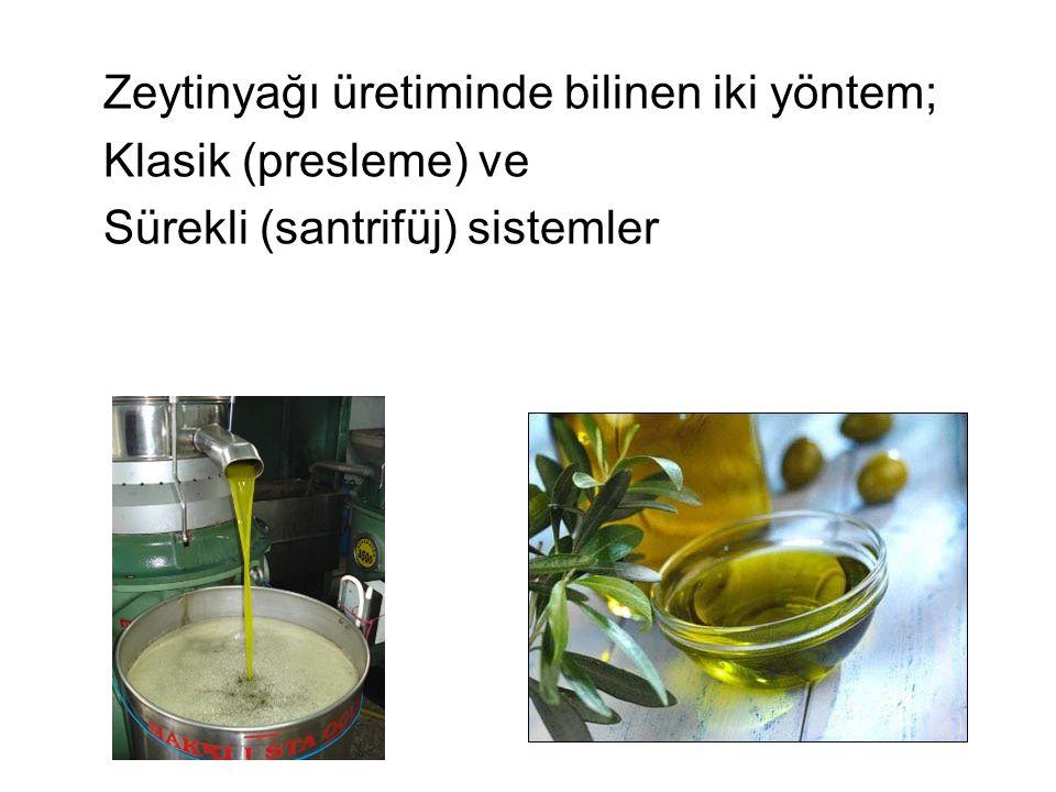 Zeytinyağı üretiminde bilinen iki yöntem; Klasik (presleme) ve Sürekli (santrifüj) sistemler