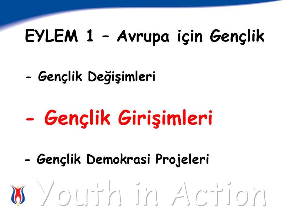 - Gençlik Girişimleri EYLEM 1 – Avrupa için Gençlik - Gençlik Değişimleri - Gençlik Demokrasi Projeleri