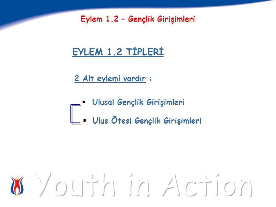 2 Alt eylemi vardır :  Ulusal Gençlik Girişimleri  Ulus Ötesi Gençlik Girişimleri EYLEM 1.2 TİPLERİ Eylem 1.2 – Gençlik Girişimleri