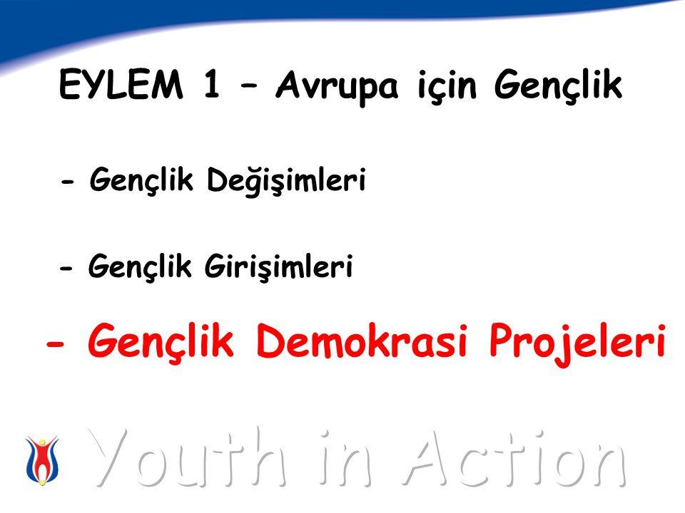 EYLEM 1 – Avrupa için Gençlik - Gençlik Değişimleri - Gençlik Girişimleri - Gençlik Demokrasi Projeleri