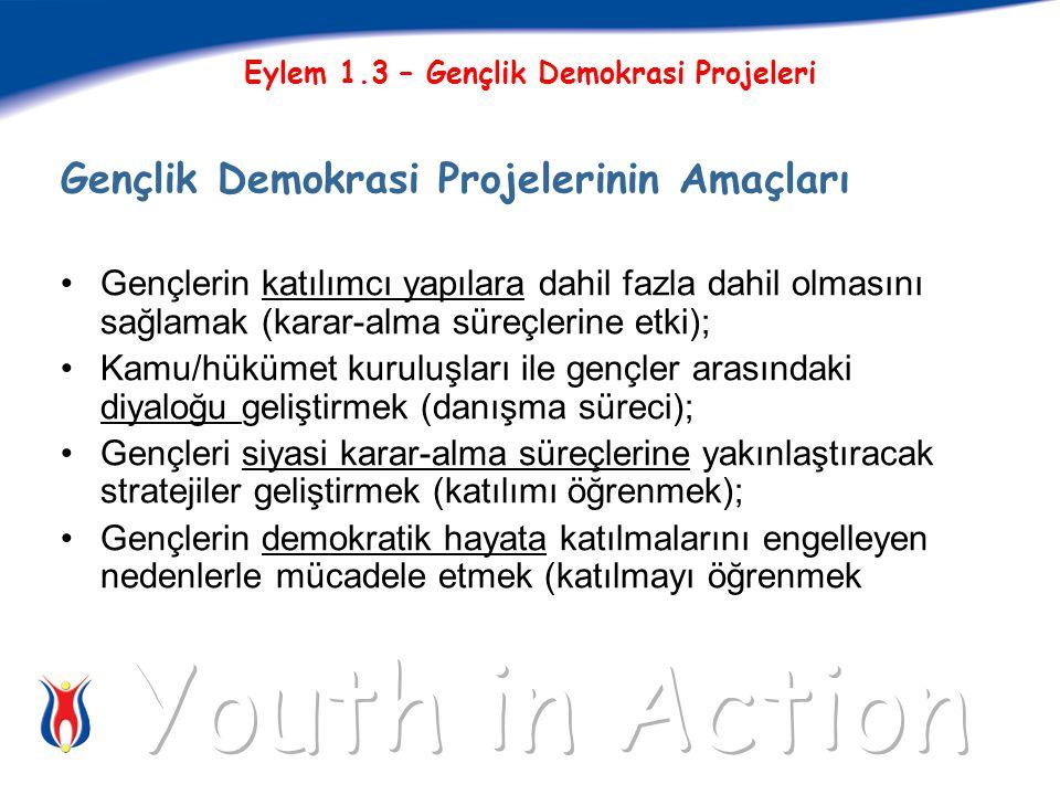Gençlik Demokrasi Projelerinin Amaçları Gençlerin katılımcı yapılara dahil fazla dahil olmasını sağlamak (karar-alma süreçlerine etki); Kamu/hükümet kuruluşları ile gençler arasındaki diyaloğu geliştirmek (danışma süreci); Gençleri siyasi karar-alma süreçlerine yakınlaştıracak stratejiler geliştirmek (katılımı öğrenmek); Gençlerin demokratik hayata katılmalarını engelleyen nedenlerle mücadele etmek (katılmayı öğrenmek
