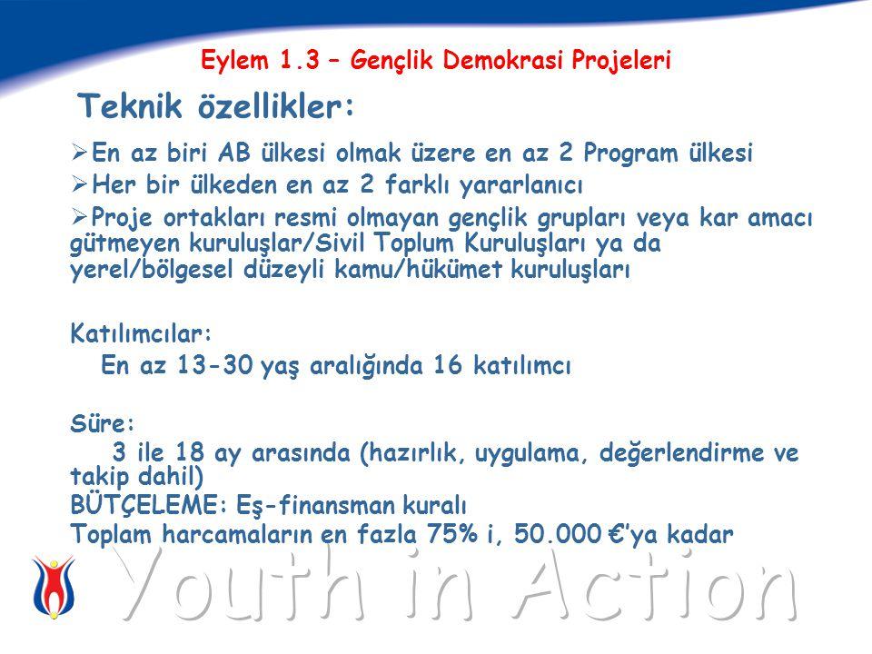 Eylem 1.3 – Gençlik Demokrasi Projeleri Teknik özellikler:  En az biri AB ülkesi olmak üzere en az 2 Program ülkesi  Her bir ülkeden en az 2 farklı yararlanıcı  Proje ortakları resmi olmayan gençlik grupları veya kar amacı gütmeyen kuruluşlar/Sivil Toplum Kuruluşları ya da yerel/bölgesel düzeyli kamu/hükümet kuruluşları Katılımcılar: En az 13-30 yaş aralığında 16 katılımcı Süre: 3 ile 18 ay arasında (hazırlık, uygulama, değerlendirme ve takip dahil) BÜTÇELEME: Eş-finansman kuralı Toplam harcamaların en fazla 75% i, 50.000 €'ya kadar