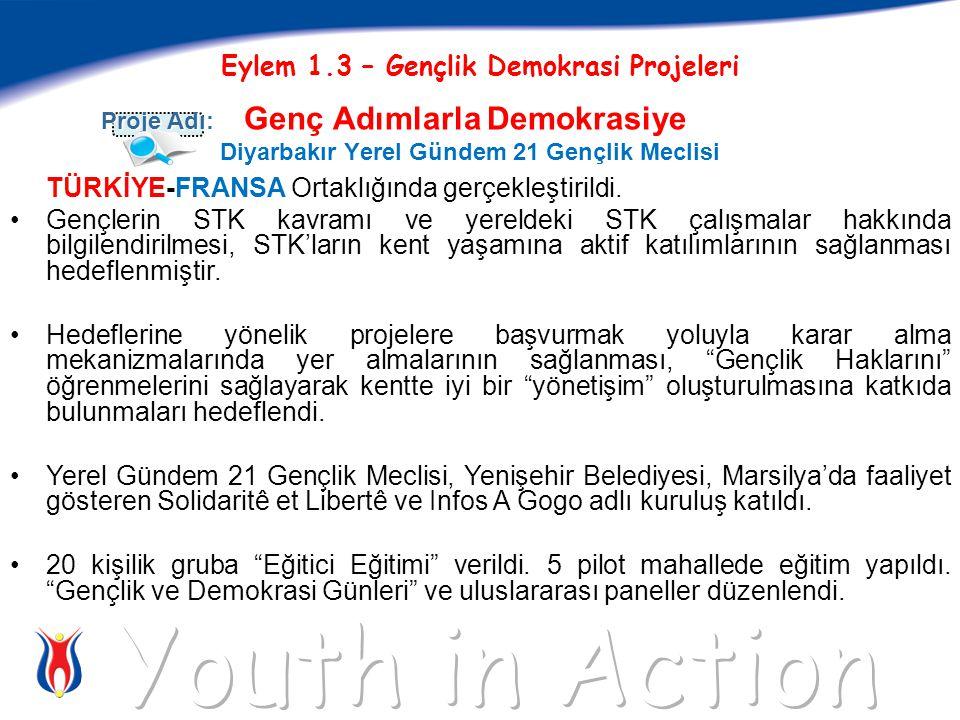 Eylem 1.3 – Gençlik Demokrasi Projeleri Genç Adımlarla Demokrasiye Diyarbakır Yerel Gündem 21 Gençlik Meclisi Proje Adı: TÜRKİYE-FRANSA Ortaklığında gerçekleştirildi.