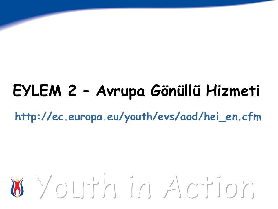 EYLEM 2 – Avrupa Gönüllü Hizmeti http://ec.europa.eu/youth/evs/aod/hei_en.cfm