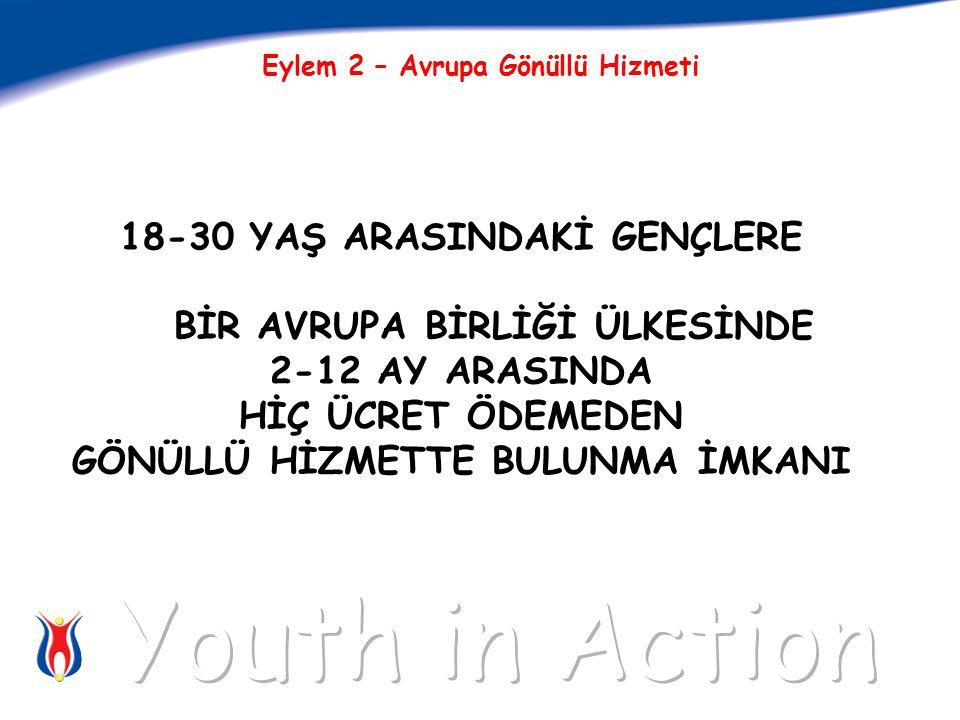 18-30 YAŞ ARASINDAKİ GENÇLERE BİR AVRUPA BİRLİĞİ ÜLKESİNDE 2-12 AY ARASINDA HİÇ ÜCRET ÖDEMEDEN GÖNÜLLÜ HİZMETTE BULUNMA İMKANI Eylem 2 – Avrupa Gönüllü Hizmeti