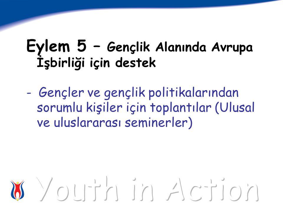 Eylem 5 – Gençlik Alanında Avrupa İşbirliği için destek - Gençler ve gençlik politikalarından sorumlu kişiler için toplantılar (Ulusal ve uluslararası seminerler)