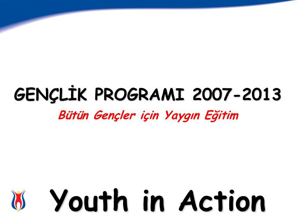 GENÇLİK PROGRAMI 2007-2013 GENÇLİK PROGRAMI 2007-2013 Bütün Gençler için Yaygın Eğitim Youth in Action