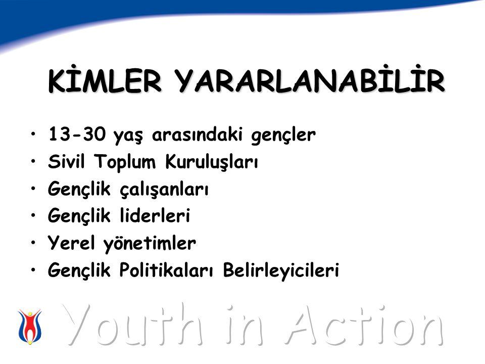 KİMLER YARARLANABİLİR 13-30 yaş arasındaki gençler Sivil Toplum Kuruluşları Gençlik çalışanları Gençlik liderleri Yerel yönetimler Gençlik Politikaları Belirleyicileri