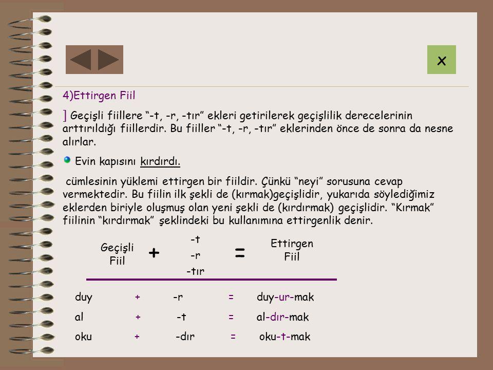 4)Ettirgen Fiil ] Geçişli fiillere -t, -r, -tır ekleri getirilerek geçişlilik derecelerinin arttırıldığı fiillerdir.