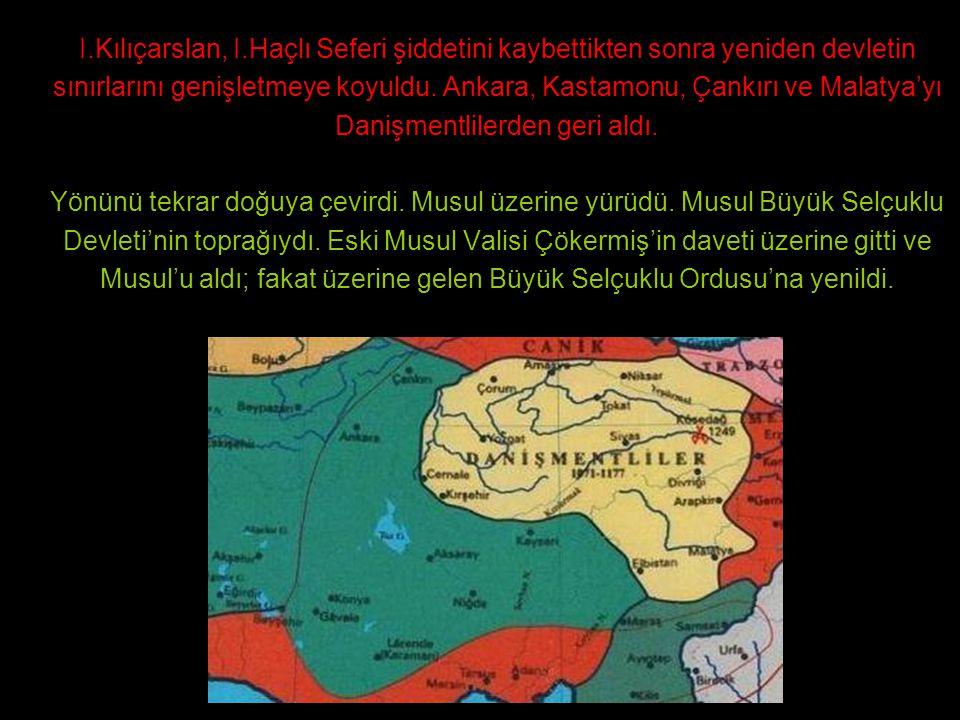 I.Kılıçarslan, I.Haçlı Seferi şiddetini kaybettikten sonra yeniden devletin sınırlarını genişletmeye koyuldu. Ankara, Kastamonu, Çankırı ve Malatya'yı