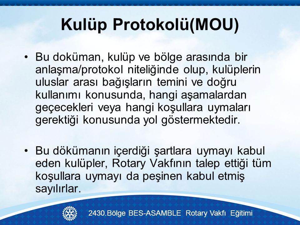 Kulüp Protokolü(MOU) Bu doküman, kulüp ve bölge arasında bir anlaşma/protokol niteliğinde olup, kulüplerin uluslar arası bağışların temini ve doğru kullanımı konusunda, hangi aşamalardan geçecekleri veya hangi koşullara uymaları gerektiği konusunda yol göstermektedir.