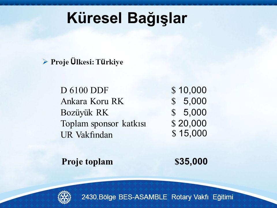 Küresel Bağışlar  Proje Ü lkesi: T ü rkiye $ 15,000 Proje toplam $ 35,000 D 6100 DDF$ 10,000 Ankara Koru RK$ 5,000 Bozüyük RK$ 5,000 Toplam sponsor katkısı$ 20,000 UR Vakfından 2430.Bölge BES-ASAMBLE Rotary Vakfı Eğitimi