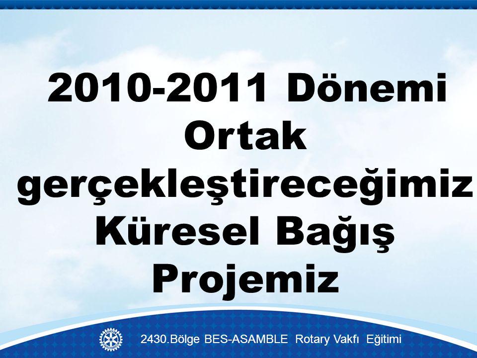 2010-2011 Dönemi Ortak gerçekleştireceğimiz Küresel Bağış Projemiz