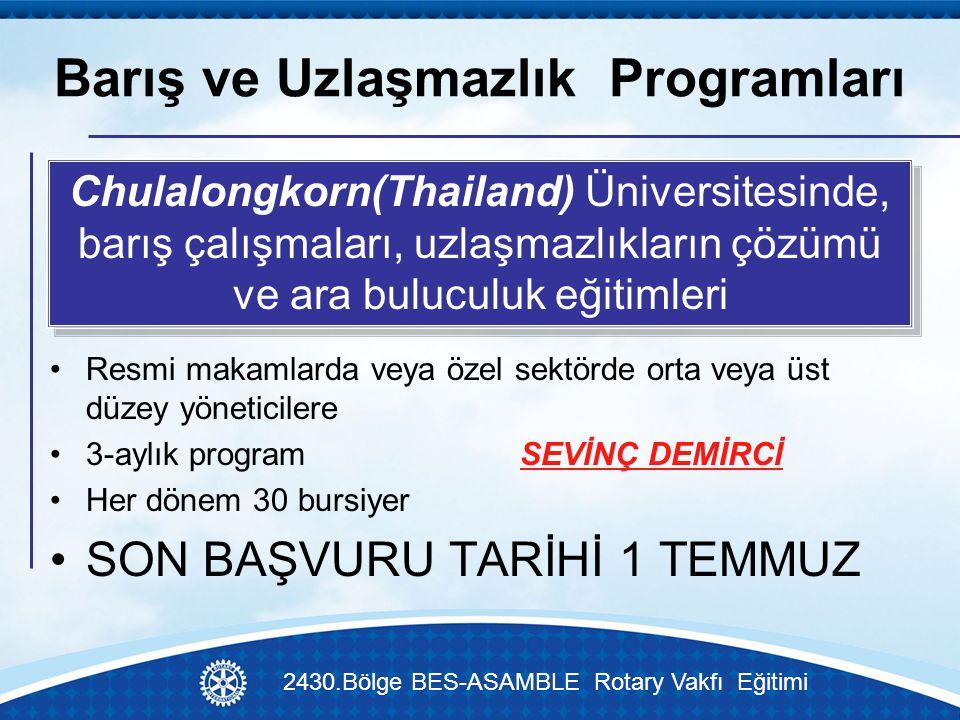 Barış ve Uzlaşmazlık Programları 2430.Bölge BES-ASAMBLE Rotary Vakfı Eğitimi Resmi makamlarda veya özel sektörde orta veya üst düzey yöneticilere 3-aylık program SEVİNÇ DEMİRCİ Her dönem 30 bursiyer SON BAŞVURU TARİHİ 1 TEMMUZ Chulalongkorn(Thailand) Üniversitesinde, barış çalışmaları, uzlaşmazlıkların çözümü ve ara buluculuk eğitimleri