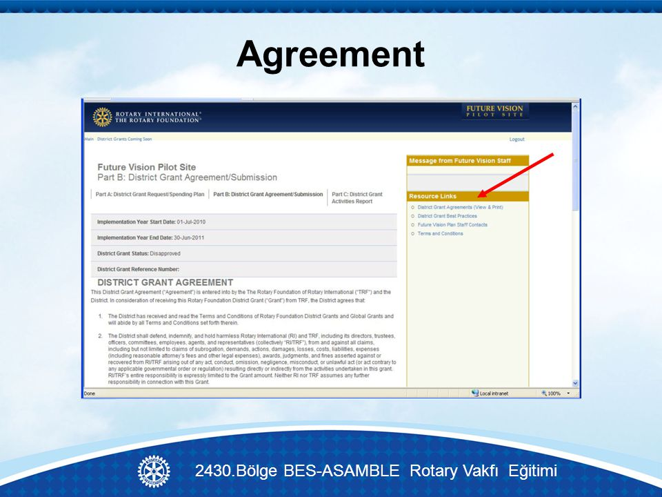 Agreement 2430.Bölge BES-ASAMBLE Rotary Vakfı Eğitimi