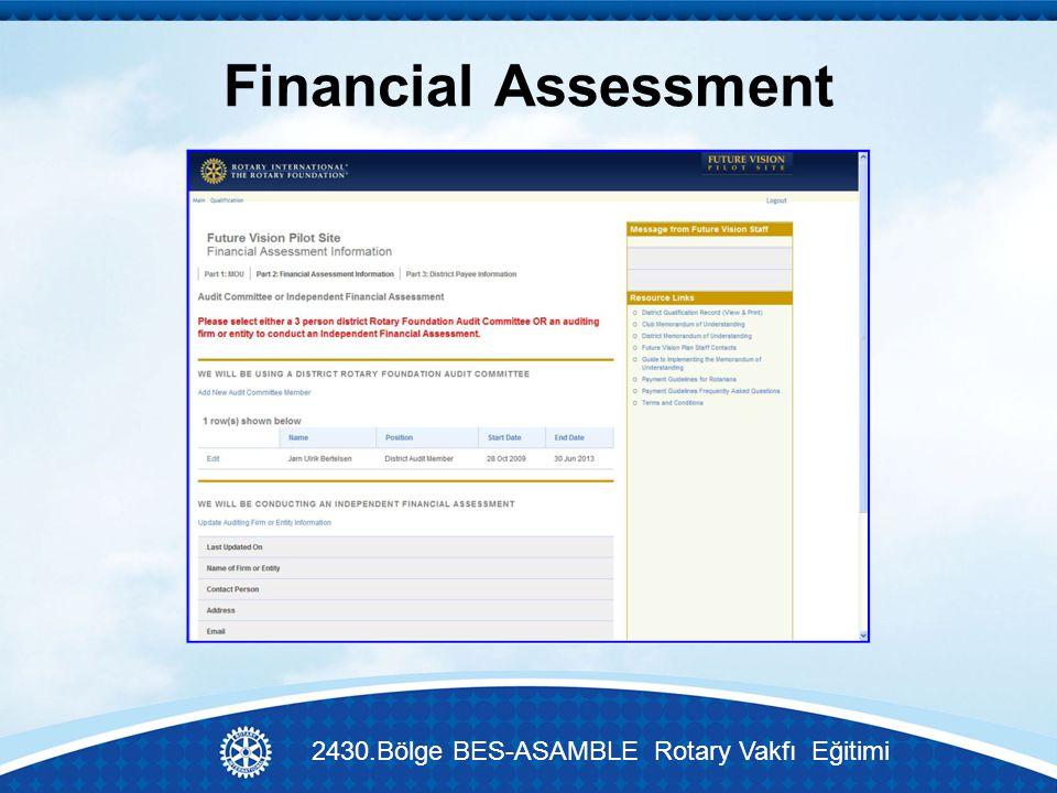Financial Assessment 2430.Bölge BES-ASAMBLE Rotary Vakfı Eğitimi