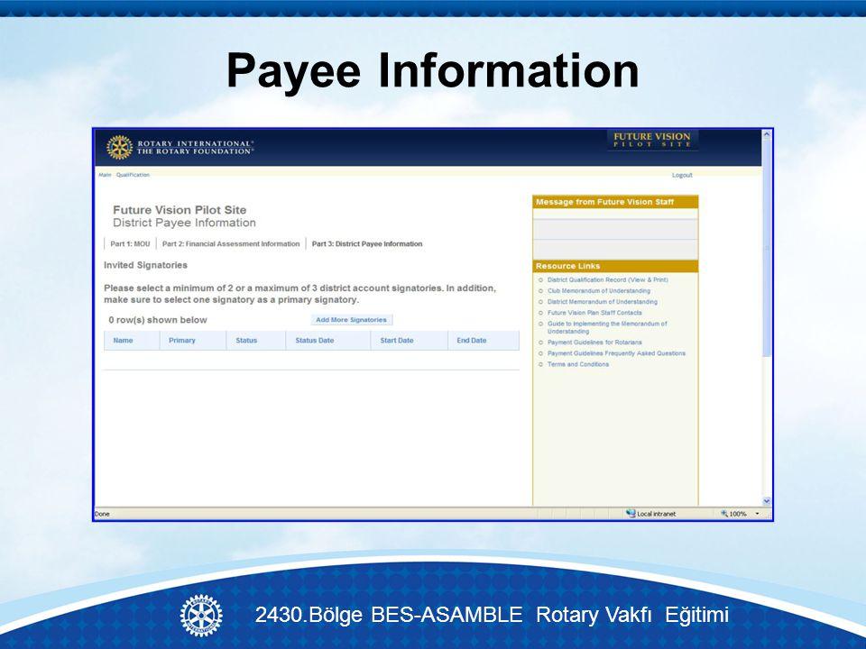 Payee Information 2430.Bölge BES-ASAMBLE Rotary Vakfı Eğitimi