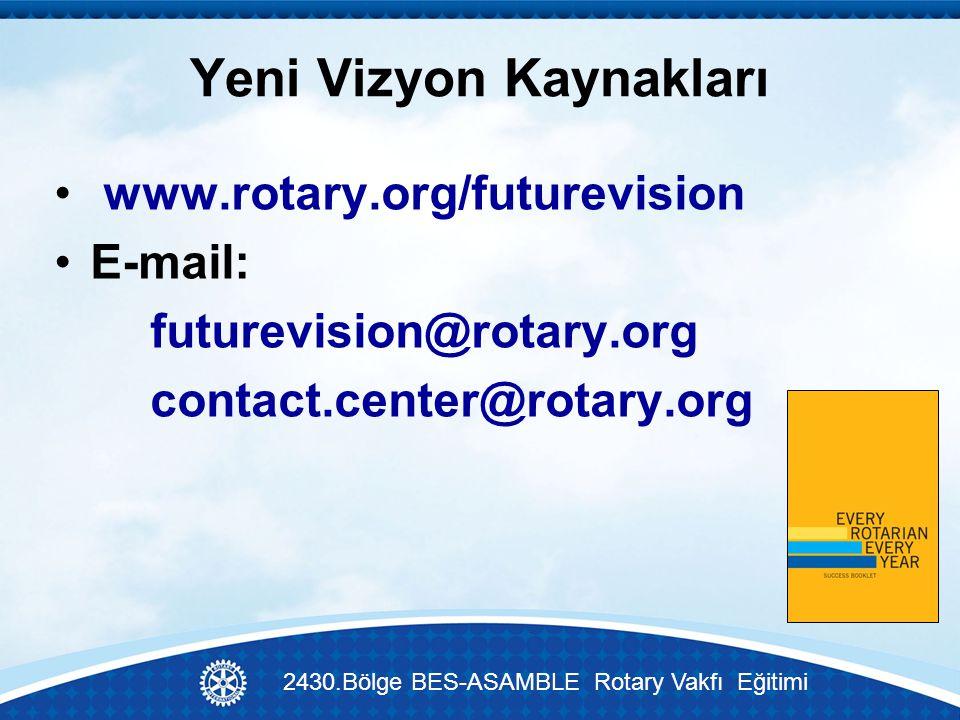 Yeni Vizyon Kaynakları www.rotary.org/futurevision E-mail: futurevision@rotary.org contact.center@rotary.org 2430.Bölge BES-ASAMBLE Rotary Vakfı Eğitimi