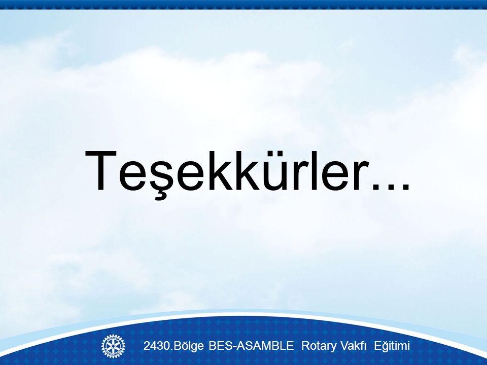 Teşekkürler... 2430.Bölge BES-ASAMBLE Rotary Vakfı Eğitimi