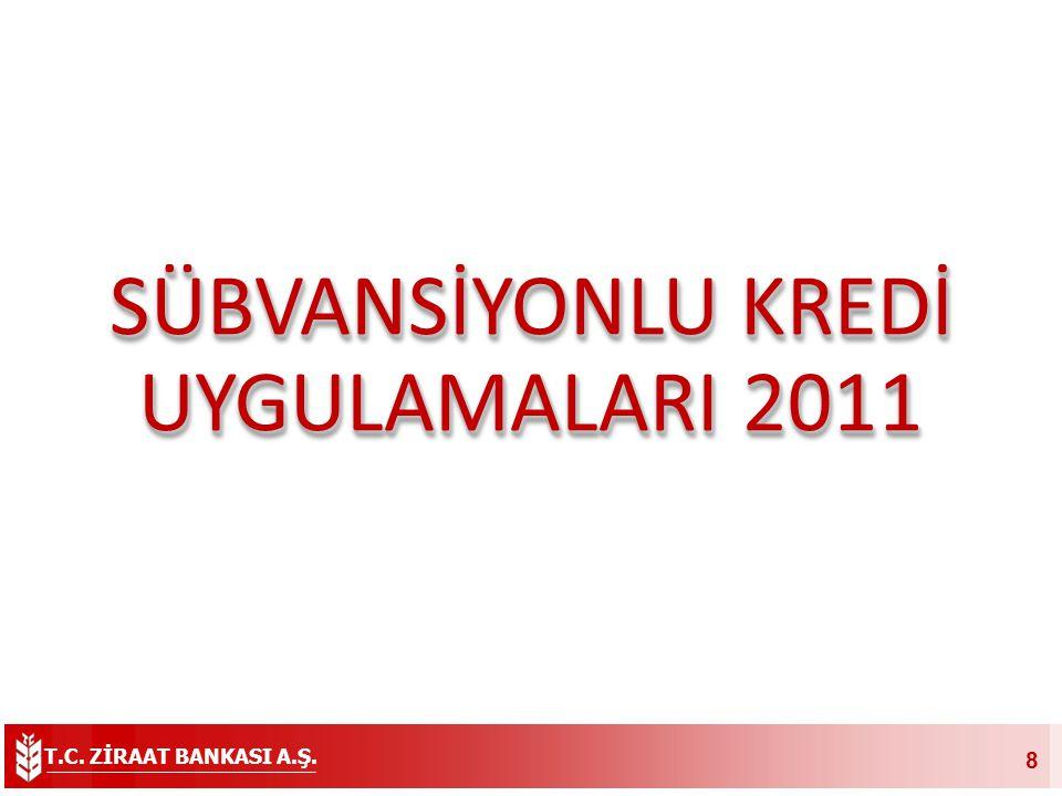 T.C. ZİRAAT BANKASI A.Ş. 8 SÜBVANSİYONLU KREDİ UYGULAMALARI 2011