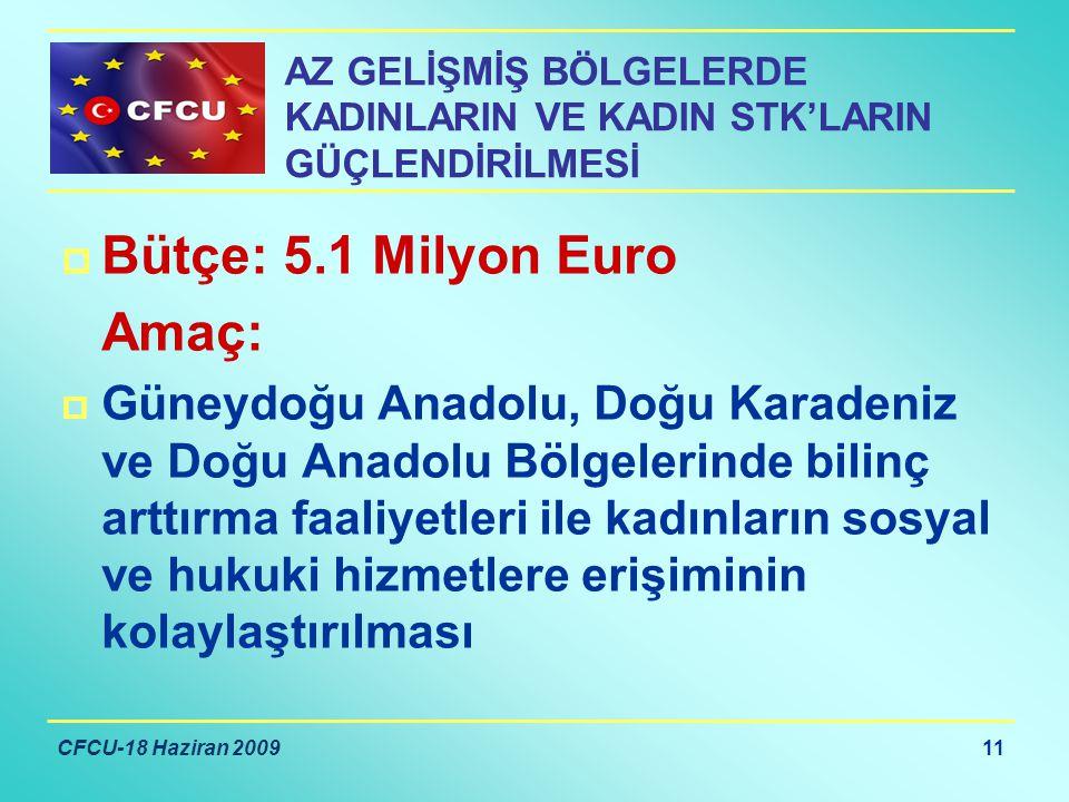 CFCU-18 Haziran 2009 11 AZ GELİŞMİŞ BÖLGELERDE KADINLARIN VE KADIN STK'LARIN GÜÇLENDİRİLMESİ  Bütçe: 5.1 Milyon Euro Amaç:  Güneydoğu Anadolu, Doğu Karadeniz ve Doğu Anadolu Bölgelerinde bilinç arttırma faaliyetleri ile kadınların sosyal ve hukuki hizmetlere erişiminin kolaylaştırılması