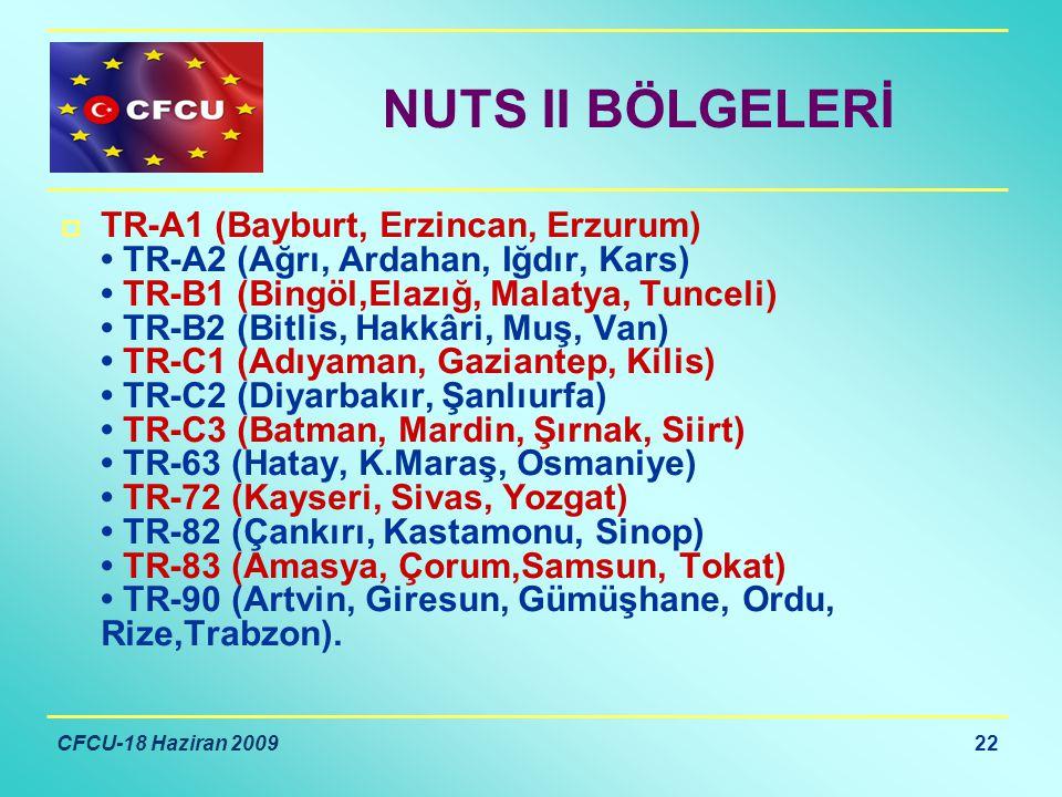 CFCU-18 Haziran 2009 22 NUTS II BÖLGELERİ  TR-A1 (Bayburt, Erzincan, Erzurum) TR-A2 (Ağrı, Ardahan, Iğdır, Kars) TR-B1 (Bingöl,Elazığ, Malatya, Tunceli) TR-B2 (Bitlis, Hakkâri, Muş, Van) TR-C1 (Adıyaman, Gaziantep, Kilis) TR-C2 (Diyarbakır, Şanlıurfa) TR-C3 (Batman, Mardin, Şırnak, Siirt) TR-63 (Hatay, K.Maraş, Osmaniye) TR-72 (Kayseri, Sivas, Yozgat) TR-82 (Çankırı, Kastamonu, Sinop) TR-83 (Amasya, Çorum,Samsun, Tokat) TR-90 (Artvin, Giresun, Gümüşhane, Ordu, Rize,Trabzon).