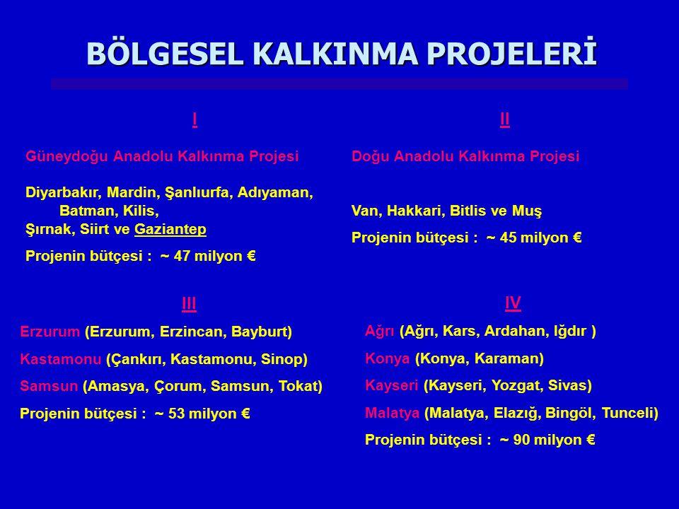 BÖLGESEL KALKINMA PROJELERİ III Erzurum (Erzurum, Erzincan, Bayburt) Kastamonu (Çankırı, Kastamonu, Sinop) Samsun (Amasya, Çorum, Samsun, Tokat) Projenin bütçesi : ~ 53 milyon € IV Ağrı (Ağrı, Kars, Ardahan, Iğdır ) Konya (Konya, Karaman) Kayseri (Kayseri, Yozgat, Sivas) Malatya (Malatya, Elazığ, Bingöl, Tunceli) Projenin bütçesi : ~ 90 milyon € I Güneydoğu Anadolu Kalkınma Projesi Diyarbakır, Mardin, Şanlıurfa, Adıyaman, Batman, Kilis, Şırnak, Siirt ve Gaziantep Projenin bütçesi : ~ 47 milyon € II Doğu Anadolu Kalkınma Projesi Van, Hakkari, Bitlis ve Muş Projenin bütçesi : ~ 45 milyon €