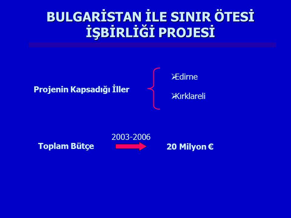 Projenin Kapsadığı İller  Edirne  Kırklareli Toplam Bütçe 20 Milyon € 2003-2006 BULGARİSTAN İLE SINIR ÖTESİ İŞBİRLİĞİ PROJESİ