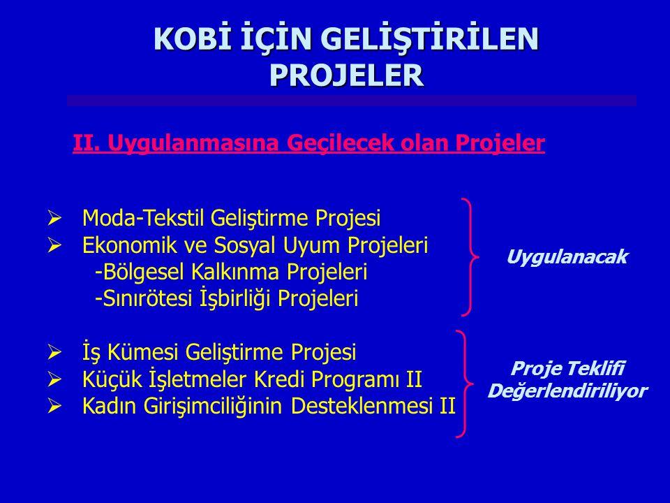 KOBİ İÇİN GELİŞTİRİLEN PROJELER  Moda-Tekstil Geliştirme Projesi  Ekonomik ve Sosyal Uyum Projeleri -Bölgesel Kalkınma Projeleri -Sınırötesi İşbirliği Projeleri  İş Kümesi Geliştirme Projesi  Küçük İşletmeler Kredi Programı II  Kadın Girişimciliğinin Desteklenmesi II II.