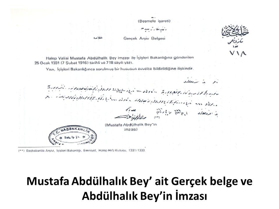 Mustafa Abdülhalık Bey' ait Gerçek belge ve Abdülhalık Bey'in İmzası