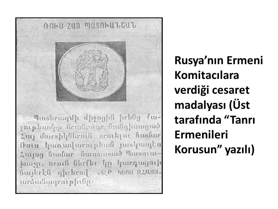 """Rusya'nın Ermeni Komitacılara verdiği cesaret madalyası (Üst tarafında """"Tanrı Ermenileri Korusun"""" yazılı)"""