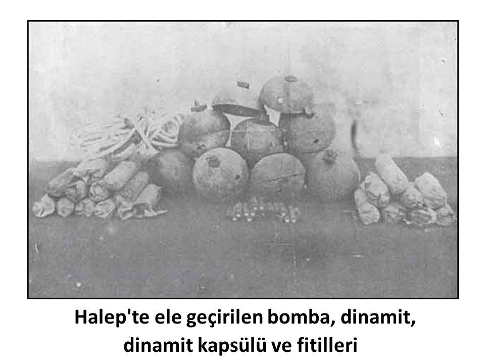 Halep'te ele geçirilen bomba, dinamit, dinamit kapsülü ve fitilleri