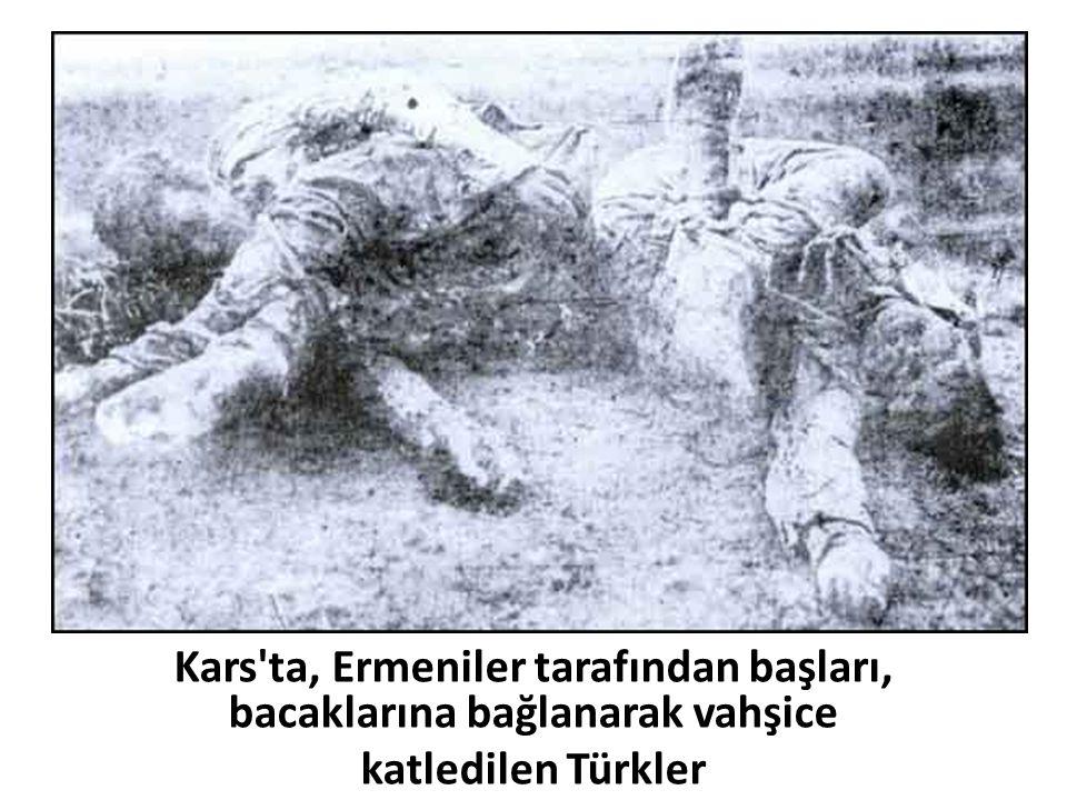 Kars'ta, Ermeniler tarafından başları, bacaklarına bağlanarak vahşice katledilen Türkler