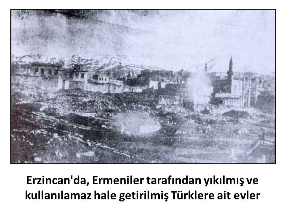 Erzincan'da, Ermeniler tarafından yıkılmış ve kullanılamaz hale getirilmiş Türklere ait evler