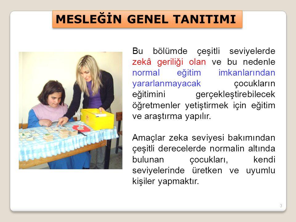 3 Bu bölümde çeşitli seviyelerde zekâ geriliği olan ve bu nedenle normal eğitim imkanlarından yararlanmayacak çocukların eğitimini gerçekleştirebilece