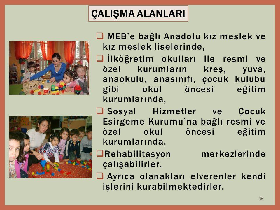 36  MEB'e bağlı Anadolu kız meslek ve kız meslek liselerinde,  İlköğretim okulları ile resmi ve özel kurumların kreş, yuva, anaokulu, anasınıfı, çoc